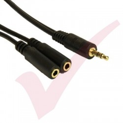 3.5mm Stereo Male-2x Female Splitter 0.2Mtr Black
