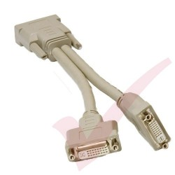 DVI-D Dual Link Male Video Cable to 2x Female Splitter Cable, 20cm Beige