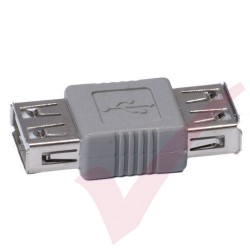 Grey - USB 2.0 A Female to A Female Gender Changer Coupler
