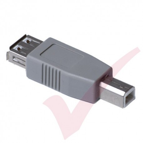 Grey - USB 2.0 A Female to B Male Gender Changer Coupler