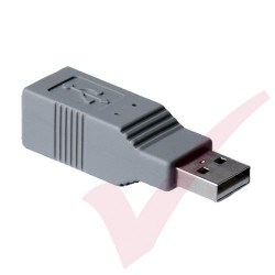 Grey - USB 2.0 B Female to A Male Gender Changer Coupler