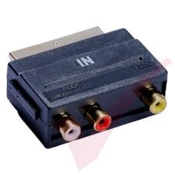 Scart Male - 3x RCA Female Input Gold Adapter