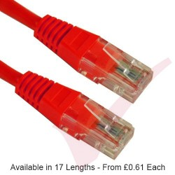 Red - RJ45 Cat5e UTP 24AWG PVC High Grade Flush Patch Cable