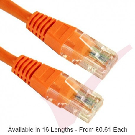 Orange - RJ45 Cat5e UTP 24AWG PVC High Grade Flush Patch Cable