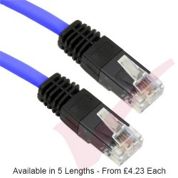 Blue - RJ45 Cat5e UTP PVC Cross Over Patch Cable with Black Boots