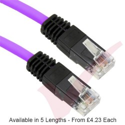 Purple - RJ45 Cat5e UTP PVC Cross Over Patch Cable with Black Boots