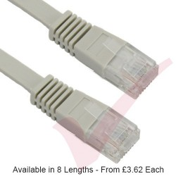 Grey - RJ45 FLAT Cat5e UTP 30AWG LSZH Patch Cable