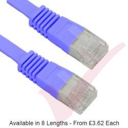 Blue - RJ45 FLAT Cat5e UTP 30AWG LSZH Patch Cable