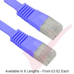 Cat5e Patch Cables Flat RJ45 UTP LSZH Flush Booted Blue