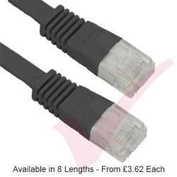 Black - RJ45 FLAT Cat5e UTP 30AWG LSZH Patch Cable