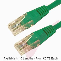 Cat6 Patch Cables RJ45 UTP High Grade PVC Flush Booted Green