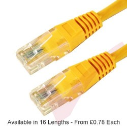 Yellow - RJ45 Cat6 UTP 24AWG PVC High Grade Flush Patch Cable