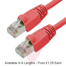 Red - RJ45 Cat6 FTP 26AWG LS0H Premium Bubble Boot Patch Cable