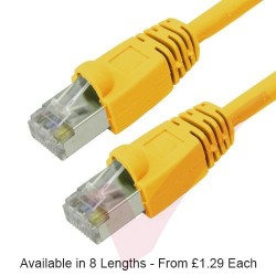 Yellow - RJ45 Cat6 FTP 26AWG LS0H Premium Bubble Boot Patch Cable