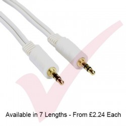 White - 3.5mm Stereo Male - Male Audio Cable