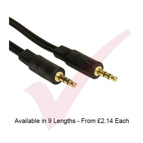 Black - 3.5mm Stereo Male - Male Audio Cable