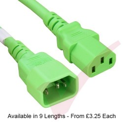 Fluo Green - C13-14 IEC Male (C14 Plug) - IEC Female (C13) Premium SJT Power Cable