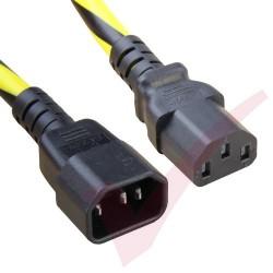 1.8 Metre (6ft) Black & Yellow - C13-14 IEC Male (C14 Plug) - IEC Female (C13) Hazard Caution SJT Power Cable