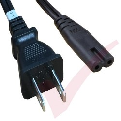 2.0 Metre Black - USA Plug 2 Pin to C7 Figure of 8 Connector 18AWG Power Cable