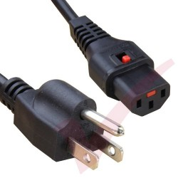 2.0 Metre Black - USA Plug 3 Pin to IEC LOCK C13 Connector 18AWG Power Cable