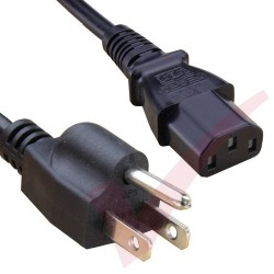 2.0 Metre Black - USA Plug 3 Pin to IEC C13 Connector 18AWG Power Cable