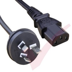 2.0 Metre Black - Australian Plug to IEC C13 Connector 0.75mm2 Power Cable