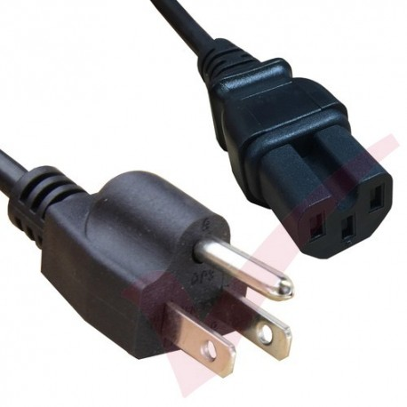 2.0 Metre Black - USA Plug 3 Pin to IEC C15 HOT Connector 18AWG Power Cable