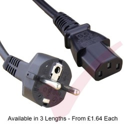 Black - Schuko Euro Straight to IEC C13 Connector 0.75mm2 Power Cable