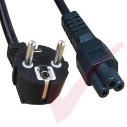 2.0 Metre Black - Schuko Euro Angled Right to IEC C5 Clover Leaf 0.75mm2 Power Cable