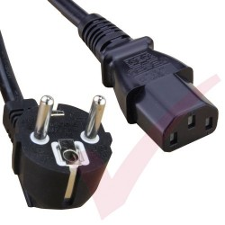2.0 Metre Black - Schuko Euro Angled Right to IEC C13 Connector 0.75mm2 Power Cable