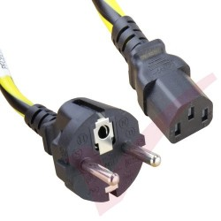1.8 Metre (6ft) Black & Yellow - Schuko Euro to IEC C13 Connector Caution Black & Yellow Cable
