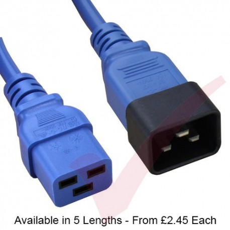 Blue - C19-C20 IEC Male (C20 Plug) - IEC Female (C19) High Grade H05VV-F 16A Power Cable
