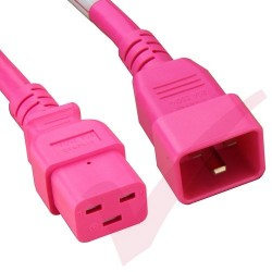 2.4 Metre (8ft) Pink - C19-C20 IEC Male (C20 Plug) - IEC Female (C19) Premium SJT HOT 20A Power Cable