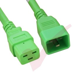 2.4 Metre (8ft) Fluo Green - C19-C20 IEC Male (C20 Plug) - IEC Female (C19) Premium SJT HOT 20A Power Cable