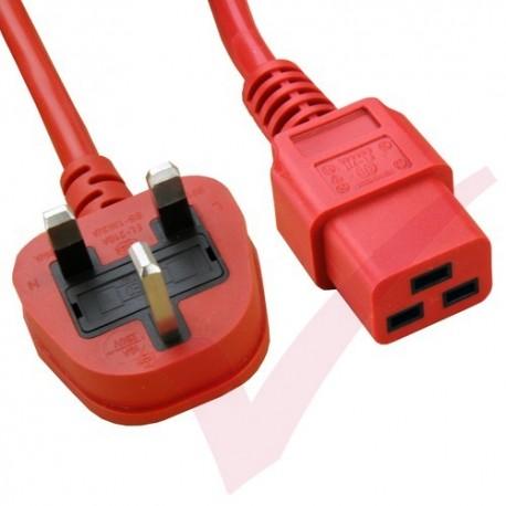 2.0 Metre Red - UK Mains Plug (10 Amp) - C19 High Grade 1.5mmSq PVC Power Cable