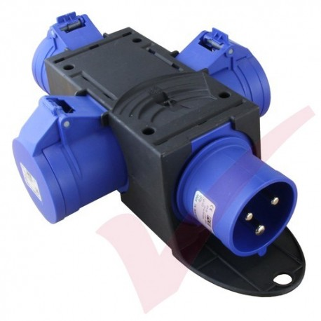 32Amp Power Junction Box -  IEC309 Commando Male Plug to 3x Commando Female Sockets Power Distribution Unit