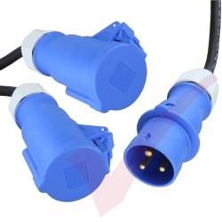 1.0 Metre Black - 32Amp Splitter IEC309 Commando Male Plug to 2x Commando Female Sockets Splitter Power Cable