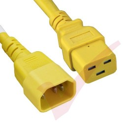 2.4 Metre (8ft) Yellow - C14-C19 IEC 60320 Male (C14 Plug) - IEC Female (C19 Connector) 15A SJT Power Extension Cable