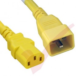 2.4 Metre (8ft) Yellow - C20-C13 IEC 60320 Male (C20 Plug) - IEC Female (C13 Connector) 15A SJT Power Extension Cable