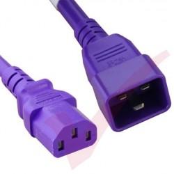 2.4 Metre (8ft) Purple - C20-C13 IEC 60320 Male (C20 Plug) - IEC Female (C13 Connector) 15A SJT Power Extension Cable