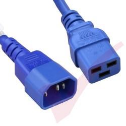 2.4 Metre (8ft) Blue - C14-C19 IEC 60320 Male (C14 Plug) - IEC Female (C19 Connector) 15A SJT Power Extension Cable