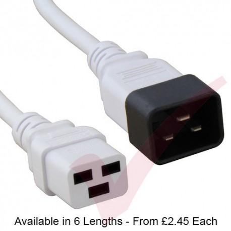 White - C19-C20 IEC Male (C20 Plug) - IEC Female (C19) High Grade H05VV-F 16A Power Cable