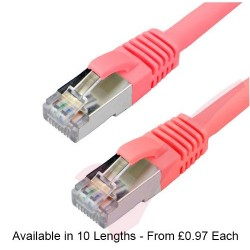 Red - RJ45 Cat6a (10G) F-STP LSZH Premium High Density Boot Patch Cable