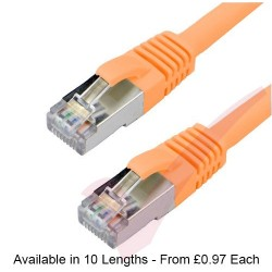 Orange - RJ45 Cat6a (10G) F-STP LSZH Premium High Density Boot Patch Cable