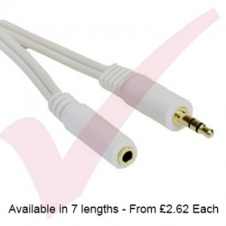 White - 3.5mm Stereo M-F Extension With Gold Connectors