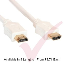 White - HDMI High Speed Ethernet, support 3D - 2k & 4k Resolution, Gold Connectors