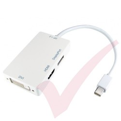 White - Mini Display Port to HDMI, DVI, Display Port Adapter