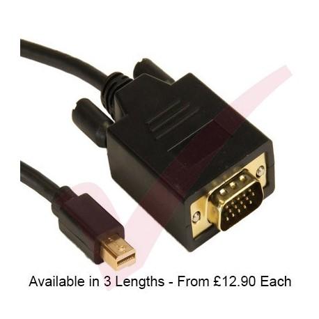 Black - Mini Display Port Male - VGA Male
