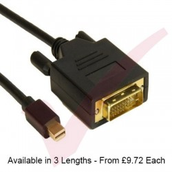 Black - Mini Display Port Male - DVI Male