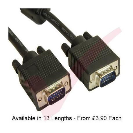 Black - SVGA HD15 Male-Male Cable